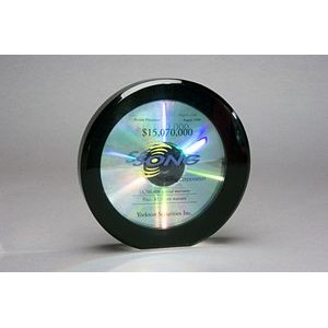 "Lucite Acrylic Circular CD Financial Tombstone (6""x1¼""x1"")"